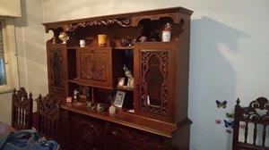 Mueble modular estante cedro con juego de mesa y sillas