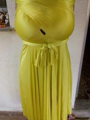vendo vestido de fiesta talle xl color limon, nuevo un solo