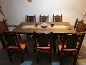 Juego de Comedor: Mesa Algarrobo 1.80 x 90cm + 6 Sillas + 2