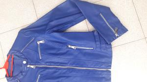 Campera chaqueta ecocuero cuero ecológico cuerina azul