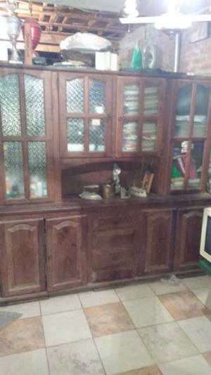 Mueble modular de algarrobo estilo campo cristalero