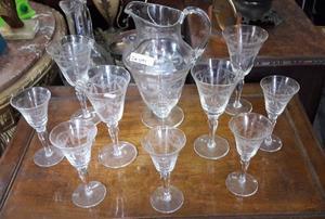 Antiguo Juego De Jarra Con 9 Copas De Cristal. Cód.: #