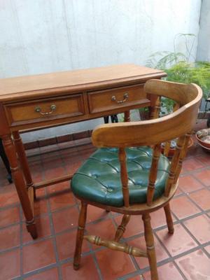 Escritorio antiguo estilo inglés madera roble y silla