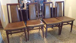Líquido juego de 4 sillas antiguas de cedro