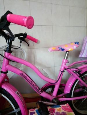 Bicicleta para niñas con rueditas y canasto