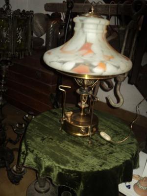 Lampara de mesa, antiguo calentador bronce. Antigua Saudade