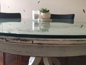 Mesa de Roble con Vidrio de 10 mm