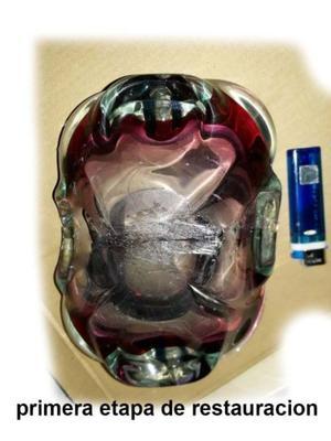 cenicero vidrio en degrades azul de 21 cm largo ancho 12 cm