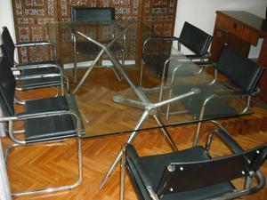 mesa directorio de cristal con 6 sillones