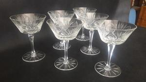 Juego De 6 Copas Antiguas Cristal Tallado Impecables #