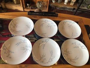 Juego De Seis Platos Ondos De Porcelana Tsuji