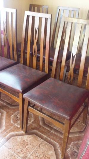 Juego de 6 sillas de madera exce estado $