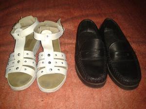 Vendo par de zapatos colegiales y par de sandalias para