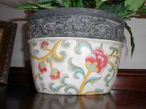Porta maceta/florero ovalada de cerámica para interiores y
