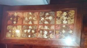 Mesa Cerealera Living Algarrobo Diseño Torneado Flores