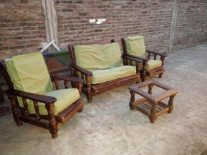 juego de living sillones reclinables de algarrobo
