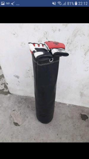 BOLSA DE BOXEO O DE ARENA Y GUANTES DE MMA MUY BUEN ESTADO