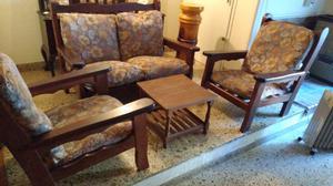 Hermoso juego de sillones de algarrobo completo