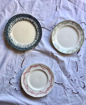 Lote platos antiquísimos losa francesa porcelana inglesa