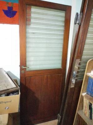 Puerta de Madera Con Vidrio Vintage