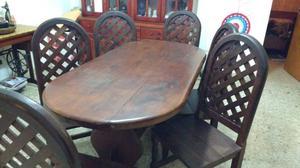 Juego de comedor mesa algarrobo con seis sillas