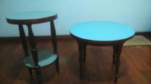 Juego de mesa ratona y mesa telefono circular de madera
