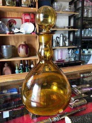 Antiguo Botellón Licorera De Vidrio Color Ámbar