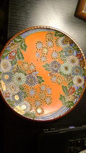 Antiguo Plato Decorativo Para Colgar Cloisonne Japones