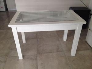 Mesa de madera con vidrio 120x70