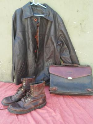 botas de cuero,,campera de cuero y maletin de cuero