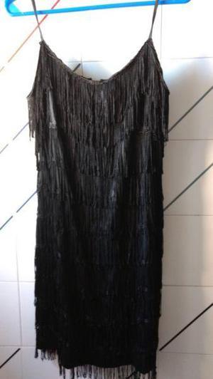 vestido fiesta, noche, arreglado, con flecos de seda negros,