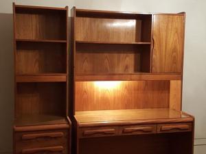 Escritorio con biblioteca en madera imitación roble