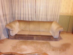Sillon - Sofa Cama De Tres Cuerpos (cuero Crudo Y Pana)