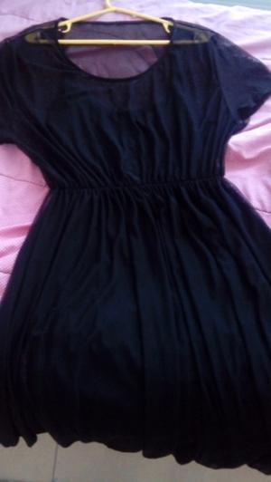 Vestido negro Talle xxl de tul con forro