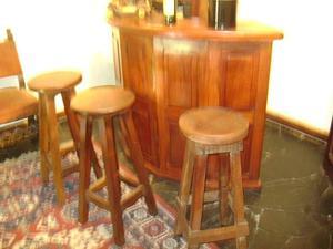 Antiguo Bar En Roble Con Apliques De Bronce CON 4 Banquetas