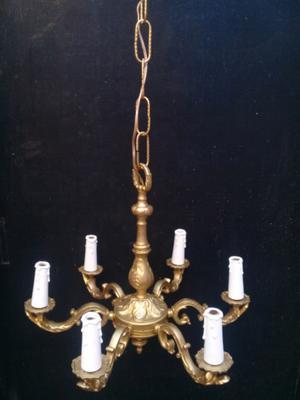 Araña de bronce 6 luces con cadena y floron Altura 41 cm