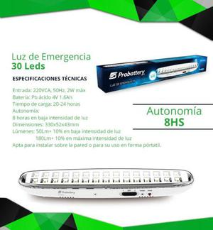 luz emergencia 30 leds probattery