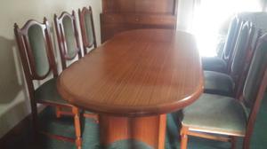 Juego de comedor mesa con 6 sillas tapizadas