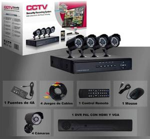 Kit Seguridad 4 Camaras Exterior dvr ip Cctv P2p Vision