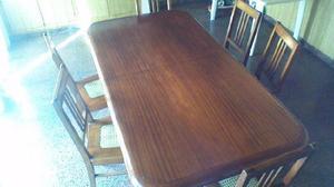 2.- Juego de mesa Importante de madera con 6 sillas