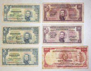 Billetes antiguos de Argentina y Uruguay