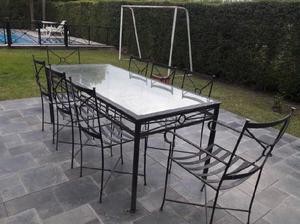 Vendo juego de mesa y sillas de hierro
