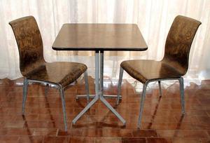 Mesas Y Sillas Para Bar O Restaurante En Madera Y Aluminio