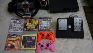 ps3 slim + 5 juegos fisicos + 4 digital + 2 joystick +