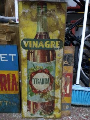 Antiguo cartel de Vinagre Ybarra - de chapa