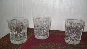 Tres Antiguos Vasos De Whiskey De Fino Cristal Tallado