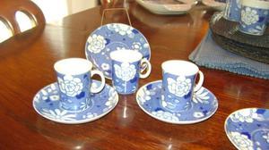 Antigua Taza De Cafe Con Plato Porcelana Marly Blue Garden