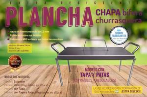 Plancheta Plancha Bifera Churrasquera en Chapa con Tapa Y