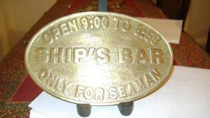 Antiguo Placa De Bronce Para Bar Ship`s Bar Only For Seaman