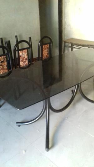 vendo mesa de living con 6 sillas